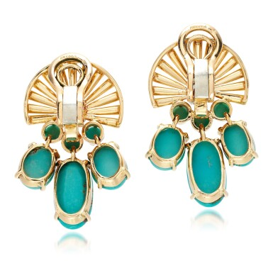 View 3. Thumbnail of Lot 85. Pair of turquoise and diamond ear clips, circa 1945.