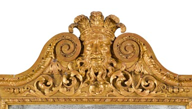 View 2. Thumbnail of Lot 57. A GEORGE II CARVED GILTWOOD MIRROR, CIRCA 1735.