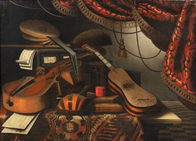 View 3. Thumbnail of Lot 156. Still life with musical instruments and a red drapery;  Still life with musical instruments and a globe.