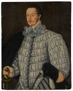 Portrait of a gentleman, three-quarter length, with his dog