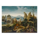 THE MASTER OF THE FEMALE HALF-LENGTHS   MOUNTAINOUS LANDSCAPE WITH ELIJAH NOURISHED BY AN ANGEL AND A RAVEN