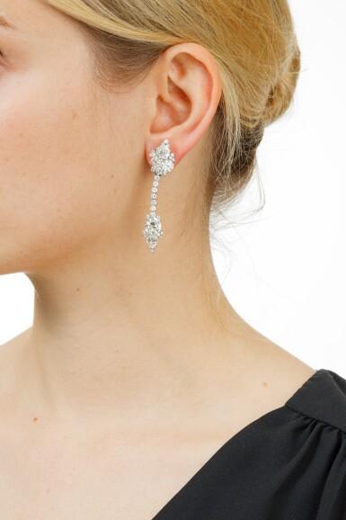 View 4. Thumbnail of Lot 34. PAIRE DE PENDANTS D'OREILLE DIAMANTS   PAIR OF DIAMOND PENDENT EARRINGS .