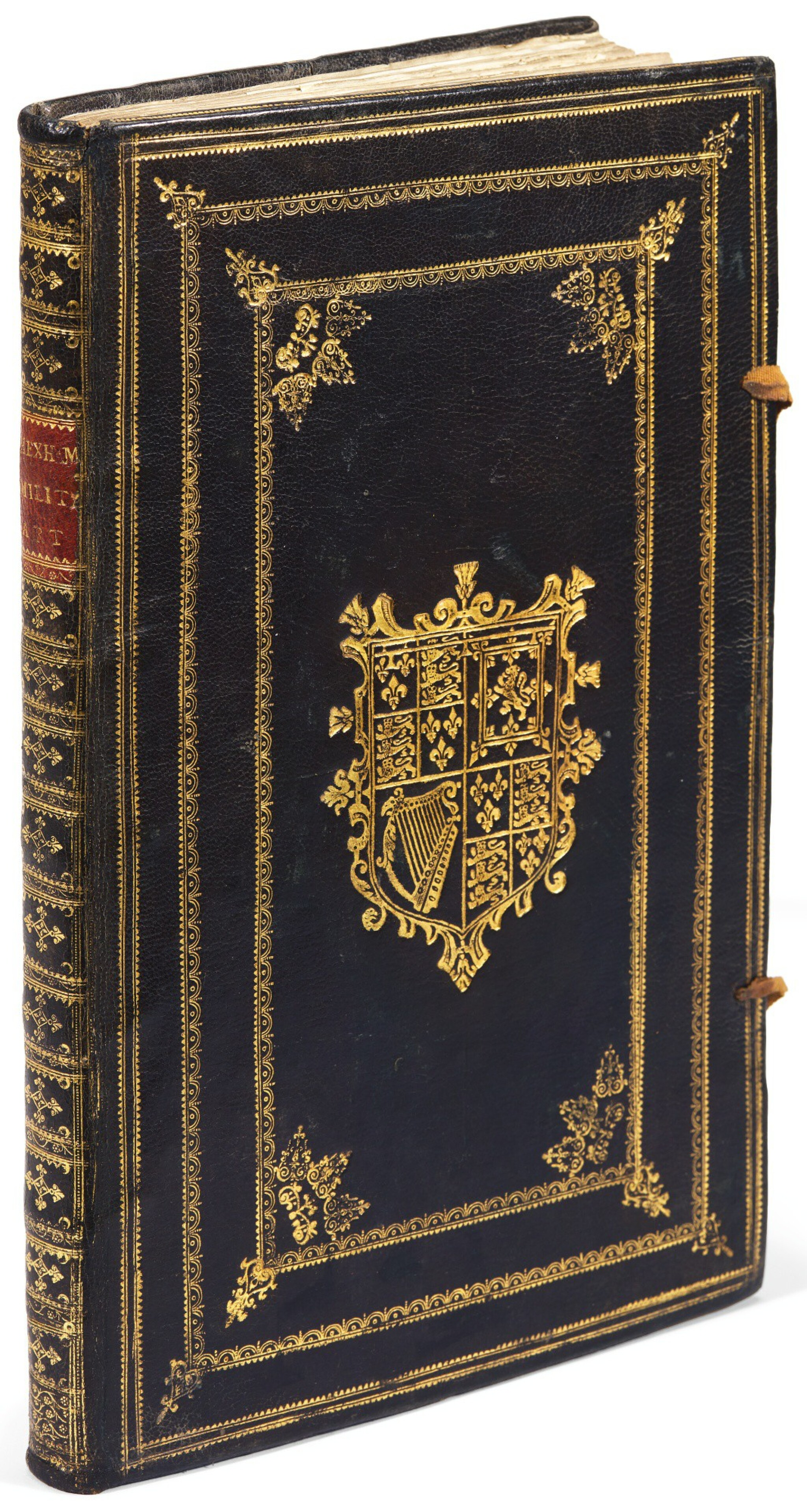 View full screen - View 1 of Lot 242. Hexham, Principles of the art militarie, London, 1637, black morocco gilt, presentation copy to Charles II.