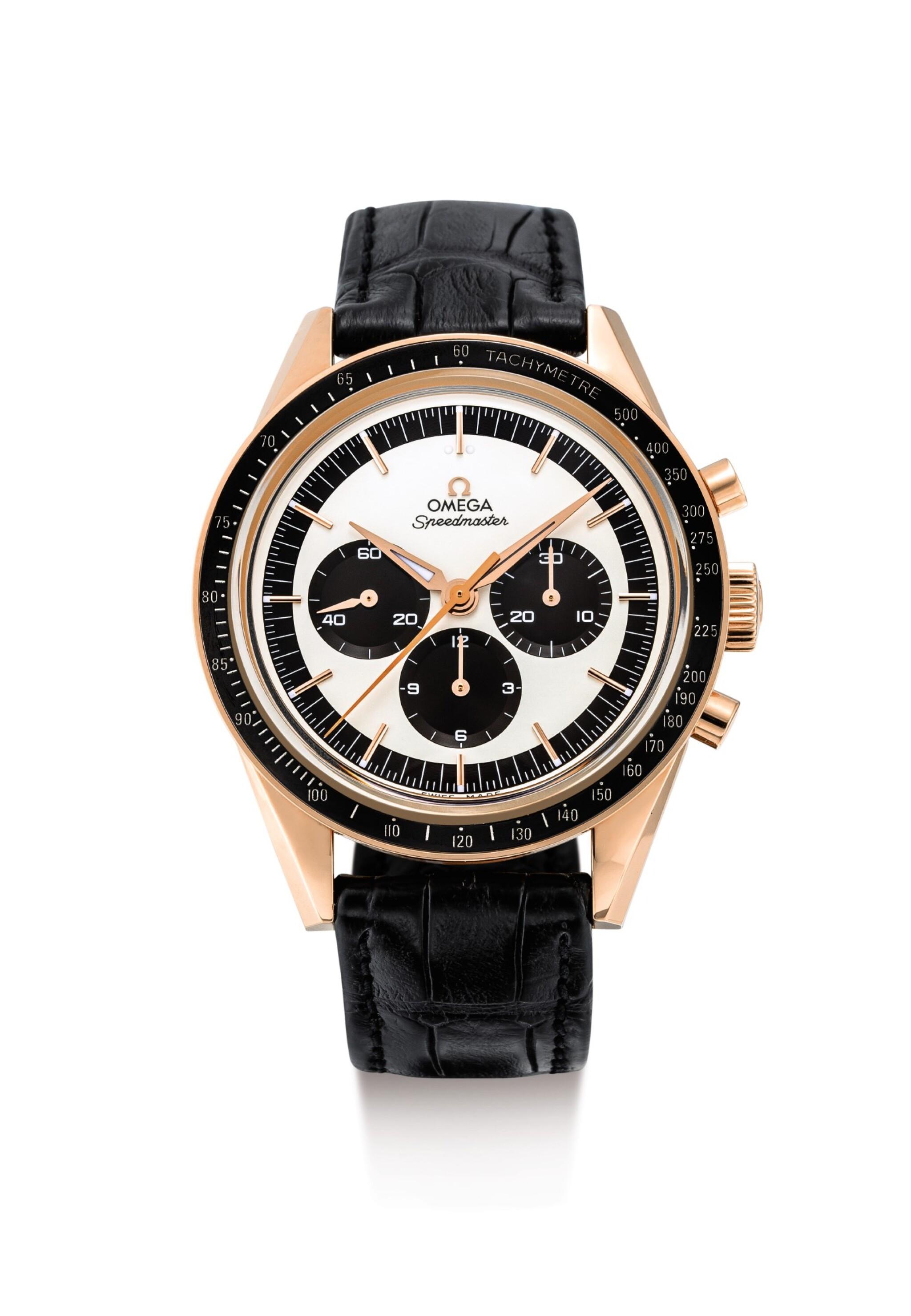"OMEGA | SPEEDMASTER, REFERENCE 311.63.40.30.02.001, A PINK GOLD CHRONOGRAPH WRISTWATCH , CIRCA 2016 | 奧米茄 | ""Speedmaster 型號311.63.40.30.02.001  粉紅金計時腕錶,錶殼編號87537010及411,約2016年製"""