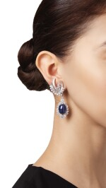 PAIR OF SAPPHIRE AND DIAMOND PENDANT-EARCLIPS
