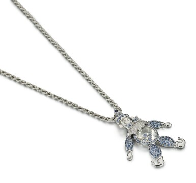 View 2. Thumbnail of Lot 9115. SAPPHIRE AND DIAMOND PENDENT NECKLACE, 'HAPPY DIAMONDS', CHOPARD | 藍寶石 配 鑽石 項鏈, 'Happy Diamonds', 蕭邦 ( Chopard ).