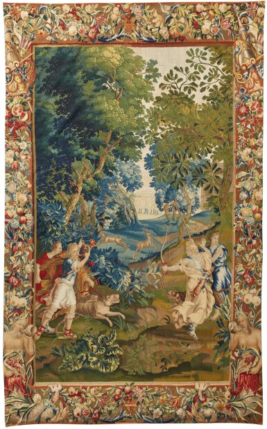 View 1. Thumbnail of Lot 91. A Flemish mythological tapestry, Brussels or Antwerp workshop, circa 1700-1720, possibly from the Story of Diana, after designs by Louis van Schoor and Pieter Spierinckx.