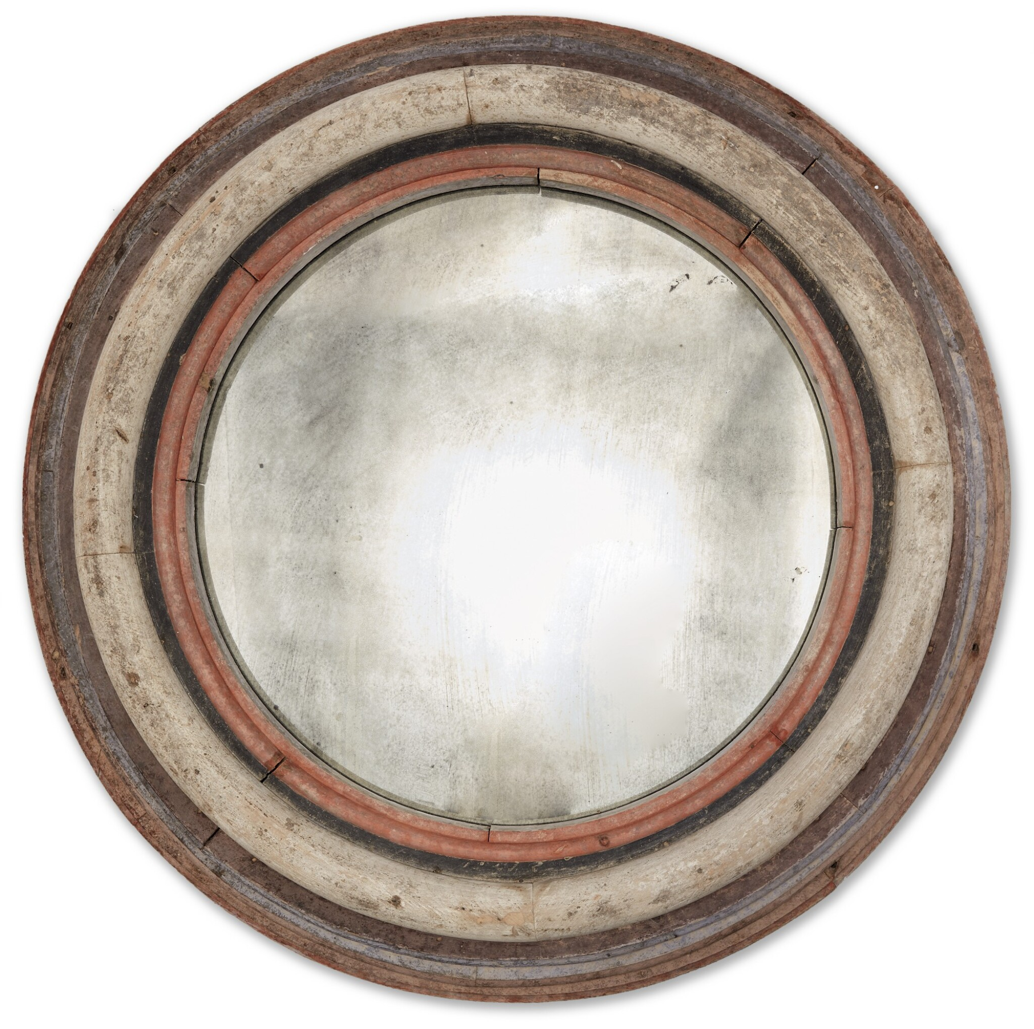 View full screen - View 1 of Lot 1480. AMERICAN POLYCHROME-PAINTED PINE MIRROR, CIRCA 1940.