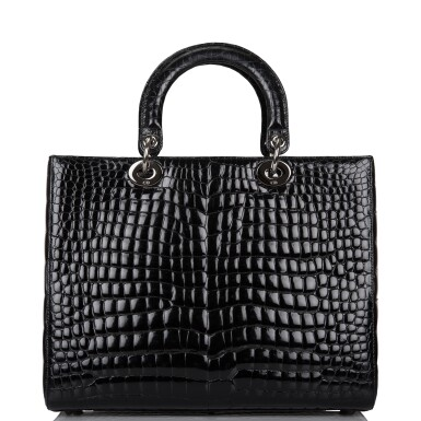 View 5. Thumbnail of Lot 105. CHRISTIAN DIOR    BLACK SHINY NILOTICUS CROCODILE LARGE LADY DIOR BAG WITH RUTHENIUM HARDWARE.