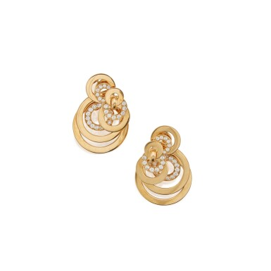View 2. Thumbnail of Lot 503. de Grisogono | Pair of Gold and Diamond 'Gypsy' Pendant-Earclips.