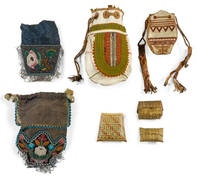 TWO IROQUOIS BEADED SILK AND FELT BAGS