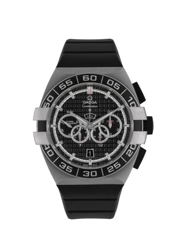 OMEGA | CONSTELLATION DOUBLE EAGLE, REF 12132445201001 STAINLESS STEEL CHRONOGRAPH WRISTWATCH WITH DAY AND DATE CIRCA 2012