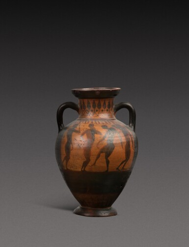 View 1. Thumbnail of Lot 57. An Attic Black-figured Amphora, attributed to the Princeton Group, circa 540-530 B.C..