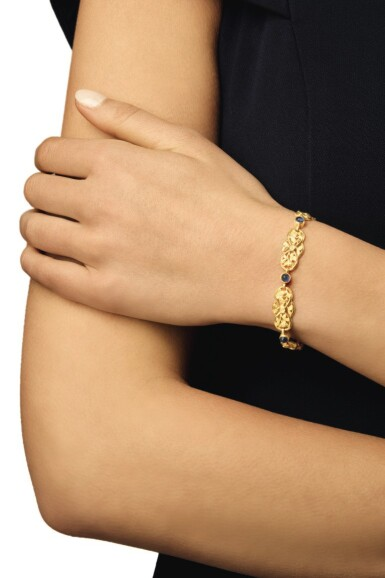 View 3. Thumbnail of Lot 47. GOLD AND SAPPHIRE BRACELET.
