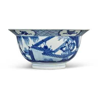 View 3. Thumbnail of Lot 34. A blue and white 'figural' bowl, Qing dynasty, Kangxi period.