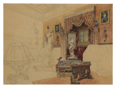 View 2. Thumbnail of Lot 166. An unfinished study of an elegant interior.