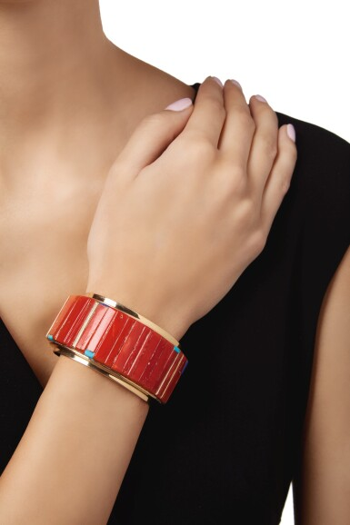 View 2. Thumbnail of Lot 131. CORAL, LAPIS LAZULI AND TURQUOISE CUFF-BRACELET, CHARLES LOLOMA.