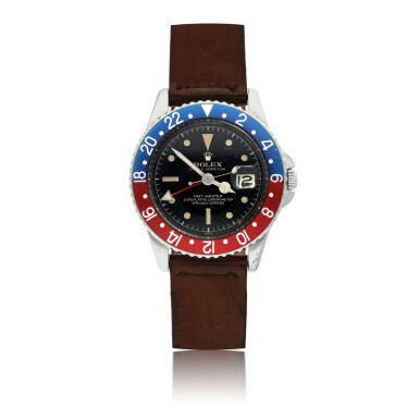 View 1. Thumbnail of Lot 162. ROLEX   REF 1675 GMT-MASTER, A STAINLESS STEEL AUTOMATIC DUAL TIME WRISTWATCH WITH DATE CIRCA 1960.