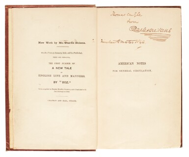 View 2. Thumbnail of Lot 83. Dickens, American Notes for General Circulation, 1842, first edition, presentation copy inscribed to Carlyle.