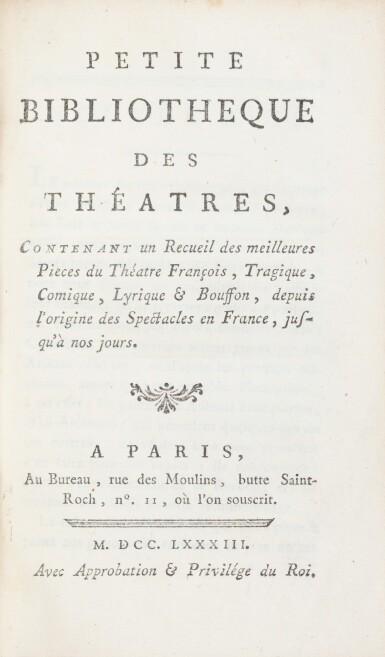 View 2. Thumbnail of Lot 93. Petite bibliothèque des théâtres. 43 volumes aux armes de la comtesse de Provence..