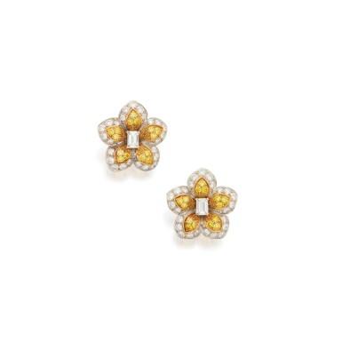 PAIR OF DIAMOND AND COLORED DIAMOND EARCLIPS, VAN CLEEF & ARPELS