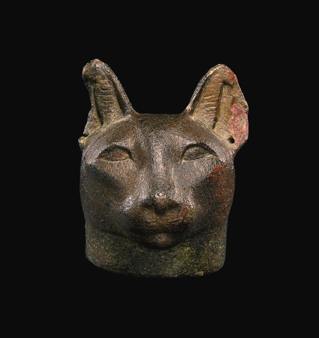 AN EGYPTIAN BRONZE HEAD OF A CAT, 26TH/30TH DYNASTY, 664-342 B.C.
