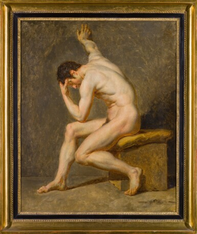View 2. Thumbnail of Lot 116. A seated male nude in contrapposto.