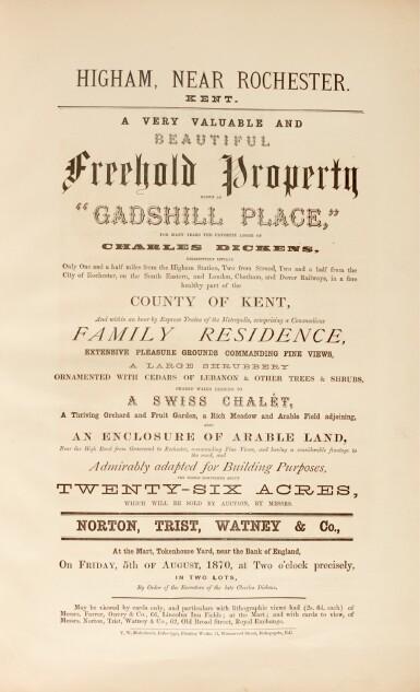 [Dickens], Gadshill Place, near Rochester, Kent, 1870, original auction catalogue, bound in vellum