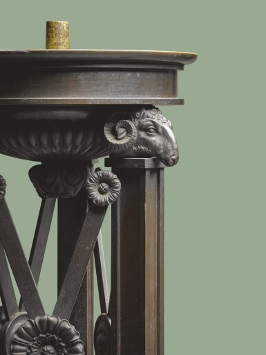 View 2. Thumbnail of Lot 111. A PAIR OF REGENCY PATINATED BRONZE PEDESTALS, CIRCA 1810.
