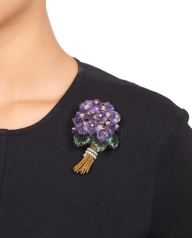 View 3. Thumbnail of Lot 486. Carved Amethyst, Nephrite and Diamond Brooch.