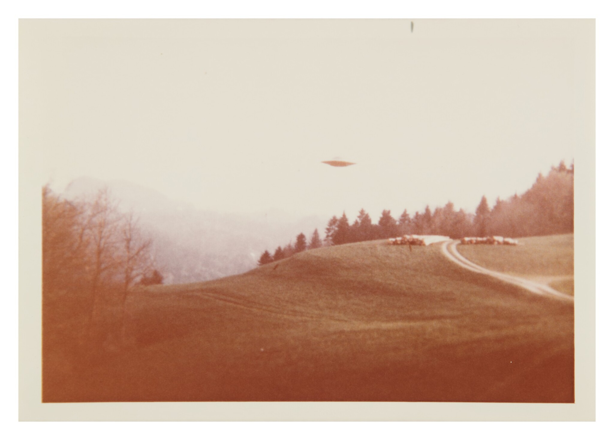 "View full screen - View 1 of Lot 214. UFO SIGHTING. 6 VINTAGE PHOTOS TAKEN BY ""BILLY"" EDUARD ALBERT MEIER IN SWITZERLAND FROM 3 MARCH-14 JUNE 1975.."