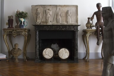 View 4. Thumbnail of Lot 180. A pair of South Italian carved parcel-gilt and painted console tables, Neapolitan, circa 1760.