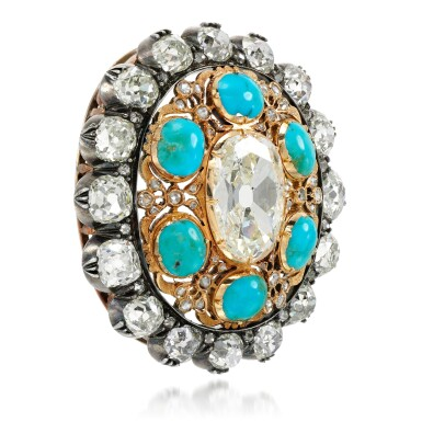 View 2. Thumbnail of Lot 129. Turquoise and diamond pendant/clasp, late 19th century.