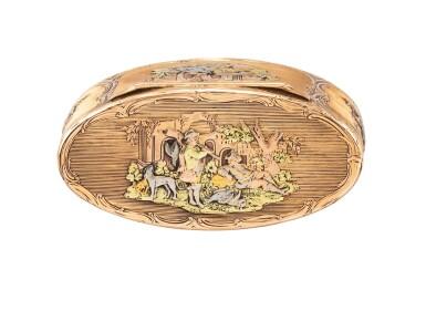 View 2. Thumbnail of Lot 220. A probably German oval three-color gold box, probably Hanau, circa 1790   Boîte ovale en or de trois couleurs, probablement Hanau, vers 1790.
