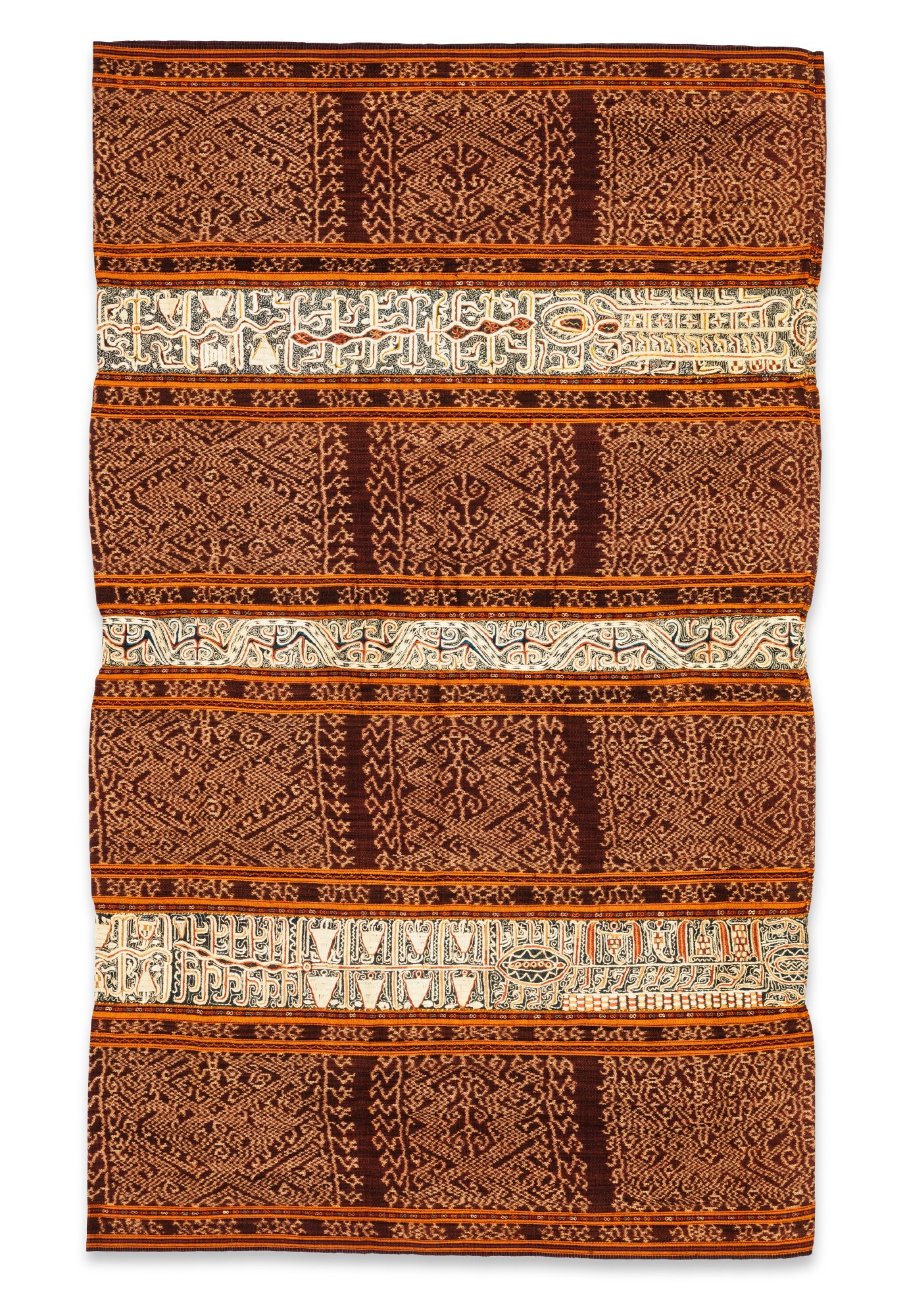 View full screen - View 1 of Lot 34. Jupe de femme tapis, Lampung, Sumatra, Indonésie, fin du 19e siècle | Woman's wrapper tapis, Lampung, Sumatra, Indonesia, late 1880s.
