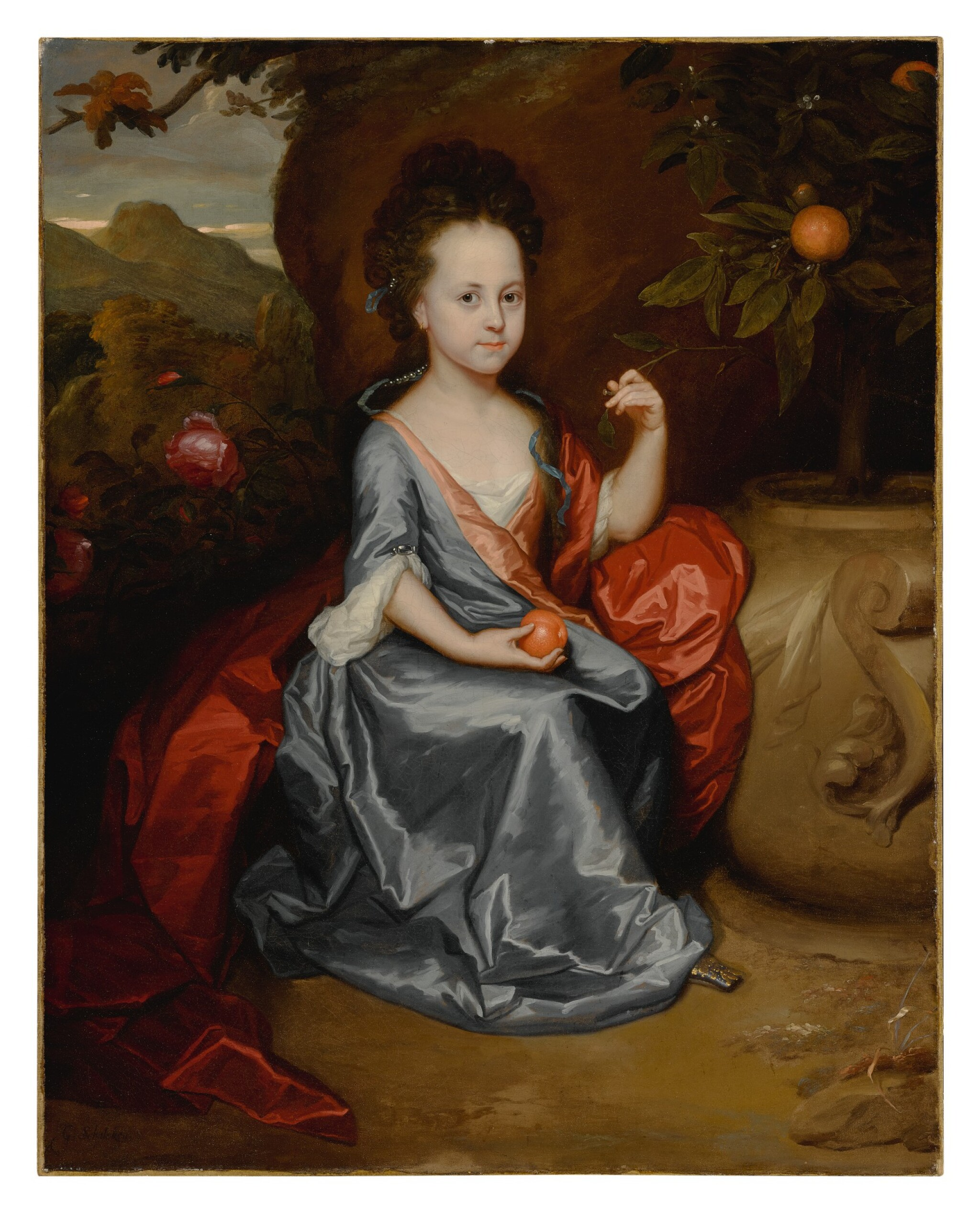 View full screen - View 1 of Lot 635. Portrait of a young girl, believed to be Anne Conslade, wearing a blue dress with a brown mantle and holding an orange.