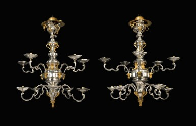 A magnificent pair of Sicilian ten-light silver and gilt bronze chandeliers, assay master Nunzio Gino, Palermo, 1758