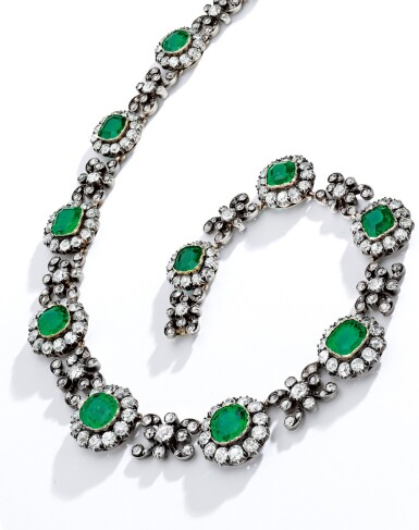 View 2. Thumbnail of Lot 341. EMERALD AND DIAMOND NECKLACE, CIRCA 1860.