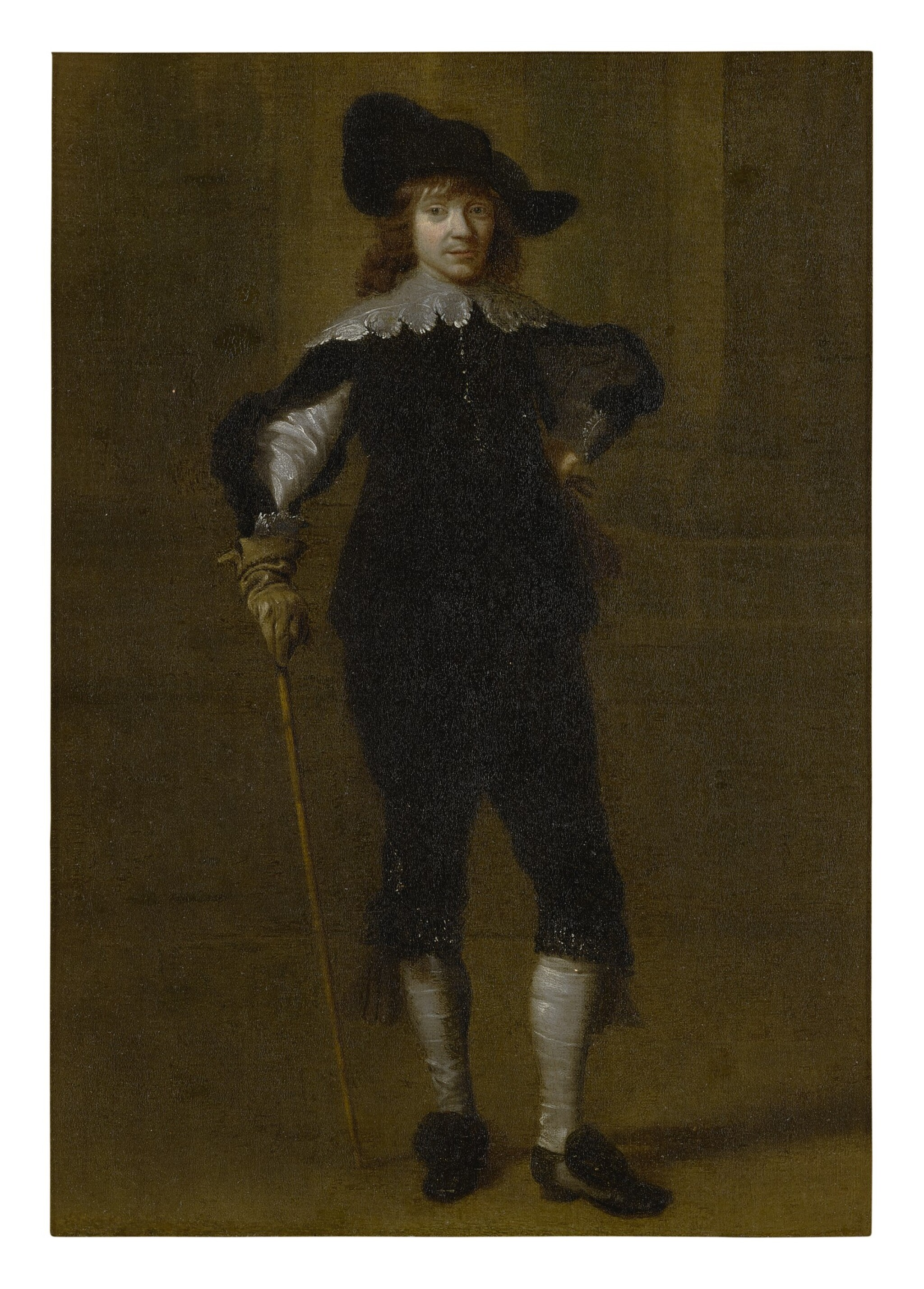 View full screen - View 1 of Lot 534. ATTRIBUTED TO GODAERT KAMPER | PORTRAIT OF A GENTLEMAN, FULL LENGTH, IN A HAT AND HOLDING A SWORD.