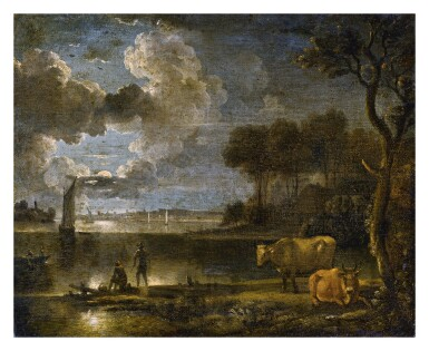 View 1. Thumbnail of Lot 5. FOLLOWER OF AERT VAN DER NEER   MOONLIT RIVER LANDSCAPE WITH BOATS, FISHERMAN AND COWS.