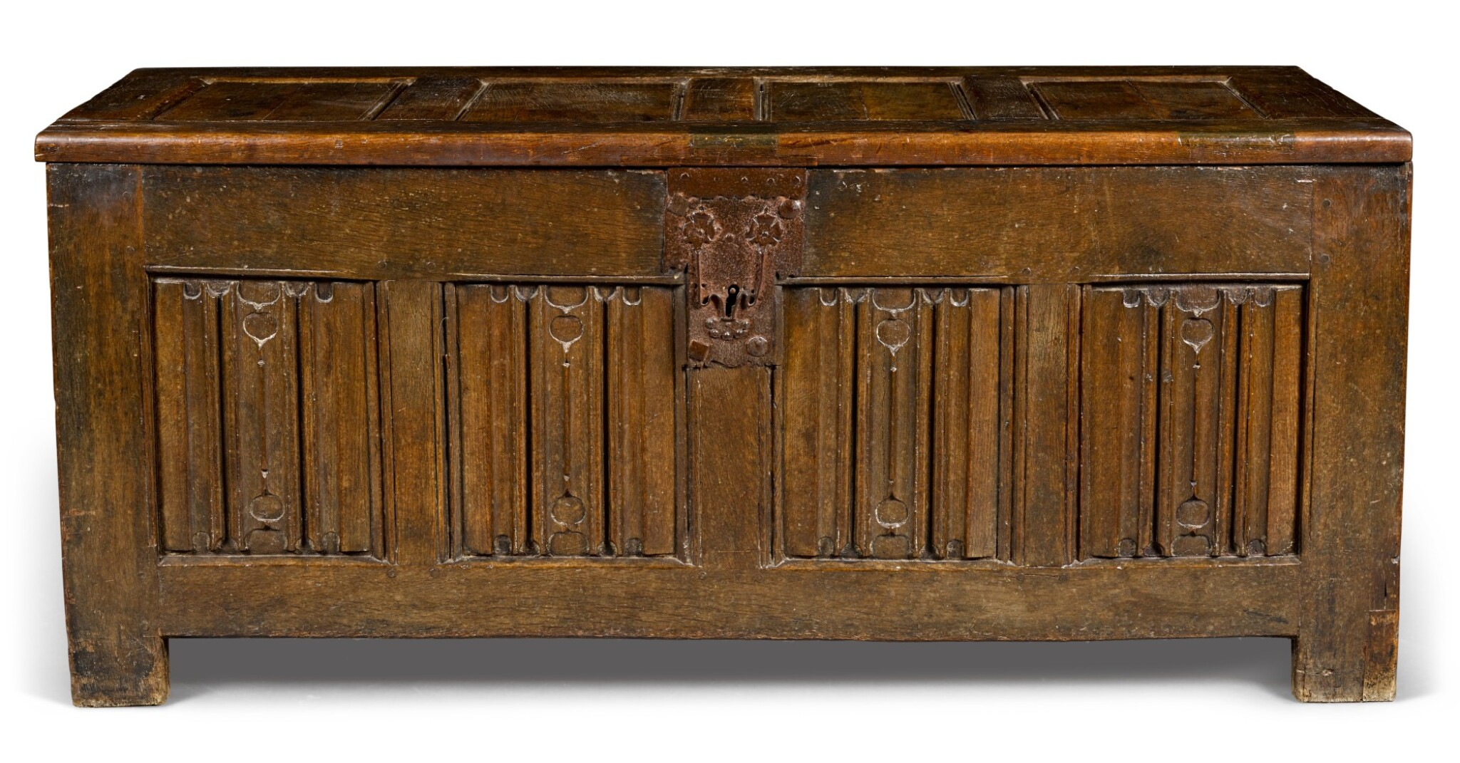 View full screen - View 1 of Lot 21. An oak panelled chest, Low Countries, 16th century.
