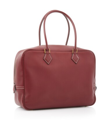 Bordeaux leather and yellow hardware handbag, Plume 32, Hermès, 2001