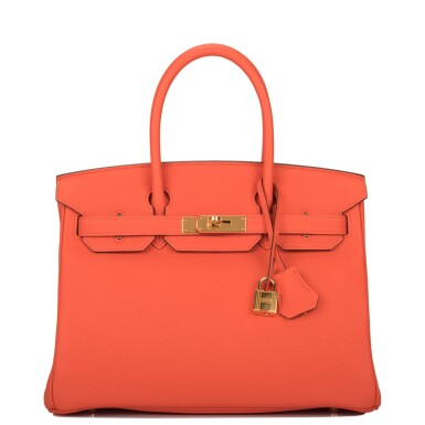 View 1. Thumbnail of Lot 138. Hermès Orange Poppy Birkin 30cm of Togo Leather with Gold Hardware.