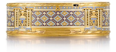 View 4. Thumbnail of Lot 15. A GOLD AND ENAMEL SNUFF BOX WITH MUSIC AND AUTOMATON, GUIDON, RÉMOND, GIDE, GENEVA, 1792-1801.