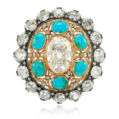 View 1. Thumbnail of Lot 129. Turquoise and diamond pendant/clasp, late 19th century.