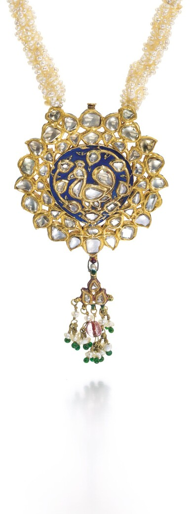 A DIAMOND-SET AND ENAMELLED GOLD PENDANT WITH SEED-PEARL STRING NECKLACE, NORTH INDIA, 19TH CENTURY