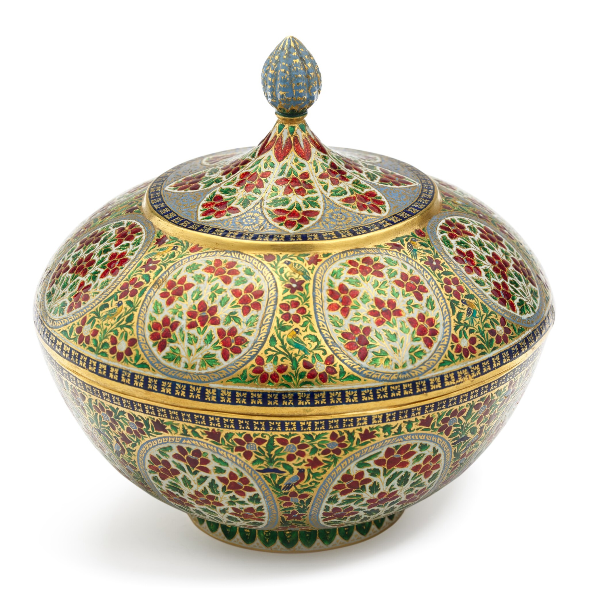 View full screen - View 1 of Lot 62. A fine enamelled gold bowl and cover, India, Rajasthan, Jaipur, 19th century.