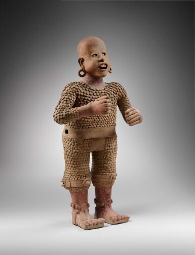 View 3. Thumbnail of Lot 4. Statue en terre cuite Xipe Totec, Culture Aztèque, Classique Récent, 1350-1500 AP. J.-C. | Aztec Ceramic Standing figure of Xipe Totec, Postclassic, 1350-1500 AD.