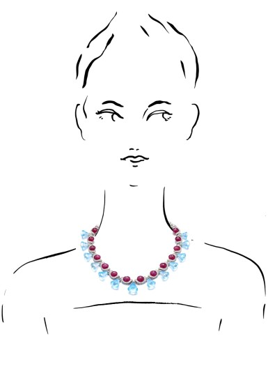 View 3. Thumbnail of Lot 35. MICHELE DELLA VALLE | RUBY, BLUE TOPAZ AND DIAMOND NECKLACE.