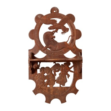 FINE AND RARE CARVED CENTENNIAL CELEBRATION WHAT-NOT SHELF, CARVED BY ALLANSON PORTER DEAN (1812-1888), CIRCA 1876